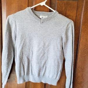 Boys gray V-neck light weight sweater. 7/8